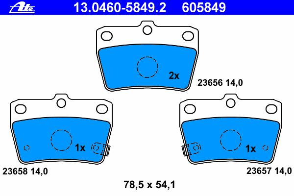 Колодки тормозные Ate 1304605849213046058492