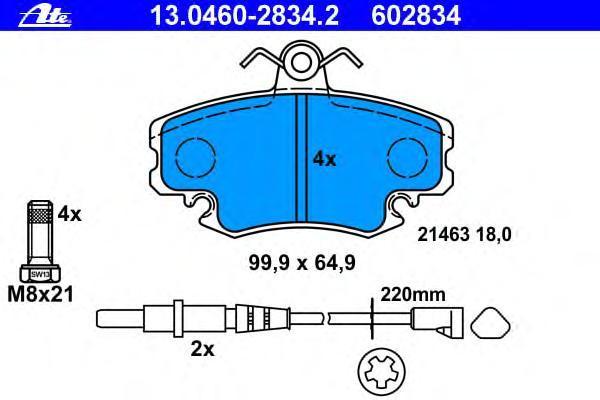 Колодки тормозные дисковые Ate 1304602834213046028342