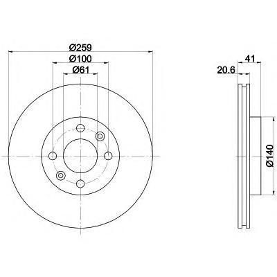 Диск тормозной Pro BEHR-HELLA 8DD355107121 комплект 2 шт8DD355107121
