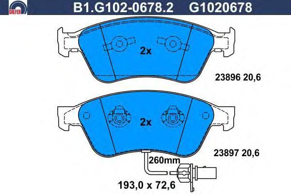 Колодки тормозные дисковые Galfer B1G10206782B1G10206782
