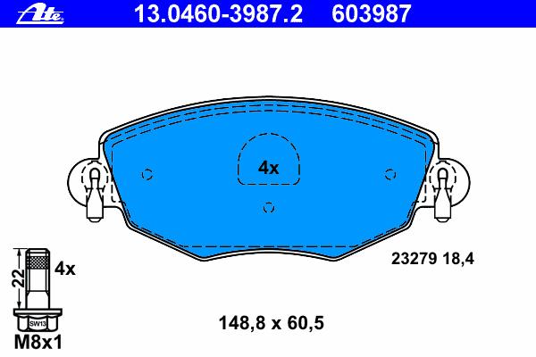 Колодки тормозные дисковые Ate 1304603987213046039872
