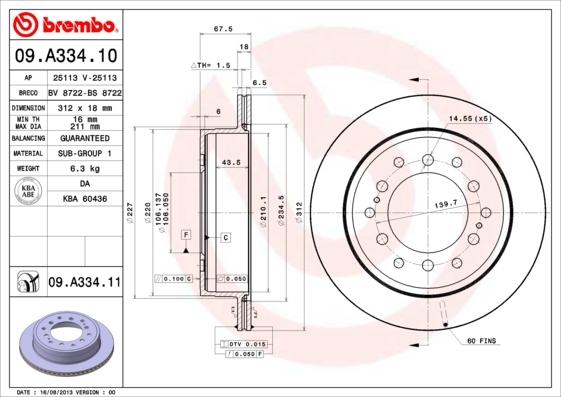 Диск тормозной задний Brembo 09A3341109A33411