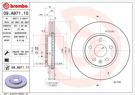 Диск тормозной передний вентилируемый Brembo 09A9711009A97110