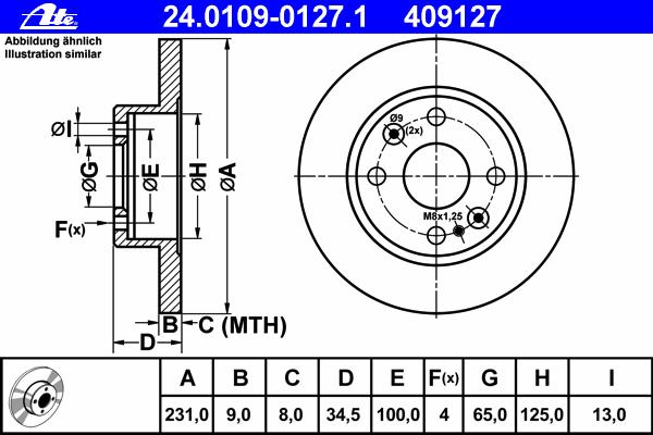 Диск тормозной Ate 24010901271 комплект 2 шт24010901271