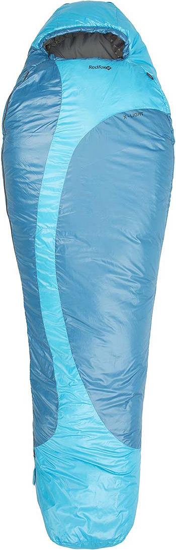 Мешок спальный Red Fox X-Light, цвет: голубой, правосторонняя молния, 200 х 80 см18806Сверхлегкий компактный спальный мешок для активных пеших и велопоходов, приключенческих гонок, путешествий. благодаря функциональному утеплителю Primaloft Infinity изделие прекрасно сохраняет тепло в условиях повышенной влажности. Предусмотрены петли для сушки и хранения.- материал: Nylon 37 g/m2- подкладка: Nylon 37 g/m2- утеплитель: PrimaLoftInfinity 120 g/m2- диапазон температур, °С: +8,7 .. +4,3 .. -9,9 (протестировано тестом EN 13537)- размер, см: Regular 200*80, XL long 220*90- вес, г: Regular 840, XL long 890