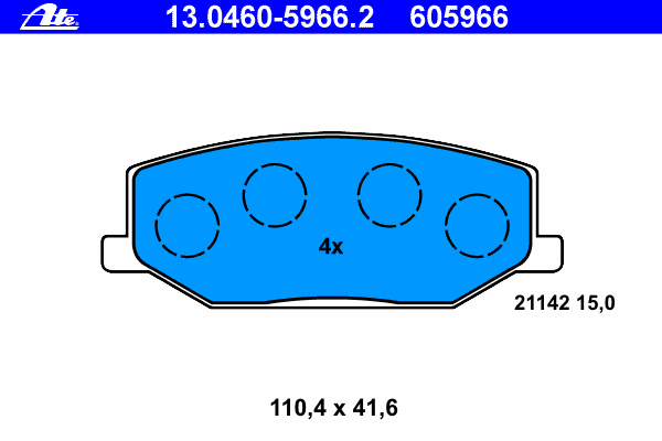 Колодки тормозные Ate 1304605966213046059662