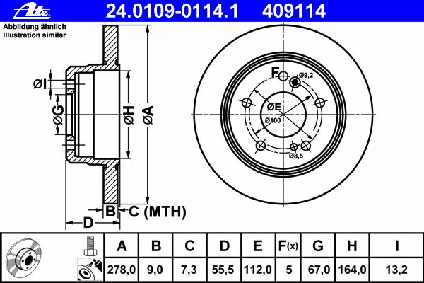 Диск тормозной Ate 24010901141 комплект 2 шт24010901141