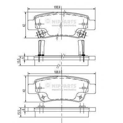 Колодки тормозные задние Nipparts N3614019N3614019