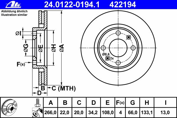 Диск тормозной Ate 24012201941 комплект 2 шт24012201941