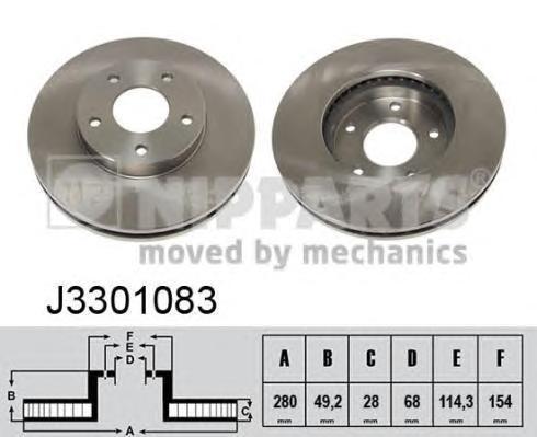 Диск тормозной передний вентилируемый Nipparts J3301083 комплект 2 штJ3301083