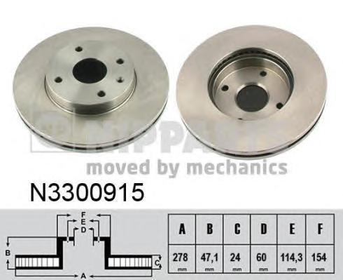 Диск тормозной передний Nipparts N3300915 комплект 2 штN3300915