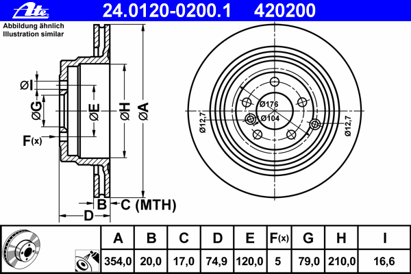 Диск тормозной Ate 2401200200124012002001