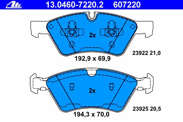 Колодки тормозные дисковые Ate 1304607220213046072202