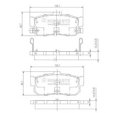 Колодки тормозные задние Nipparts J3611034J3611034