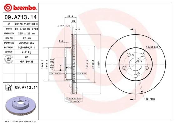 Диск тормозной передний Brembo 09A71314 комплект 2 шт09A71314