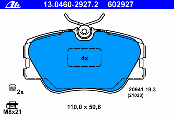 Колодки тормозные дисковые Ate 1304602927213046029272