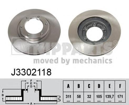 Диск тормозной передний вентилируемый Nipparts J3302118J3302118