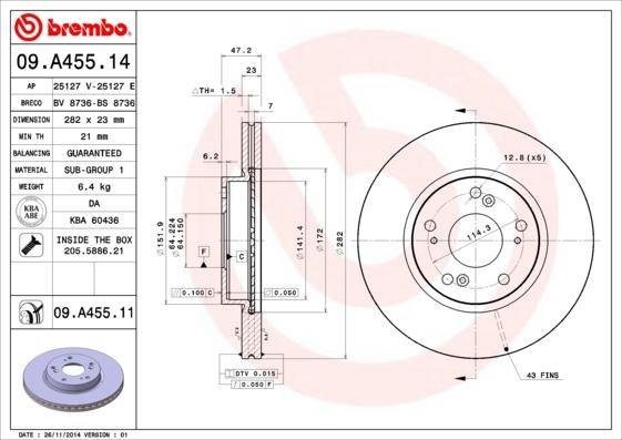 Диск тормозной пер.(282x23) 5 отв.(min 2) Brembo 09A45514 комплект 2 шт09A45514