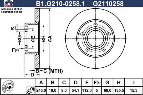 Диск тормозной Galfer B1G21002581B1G21002581