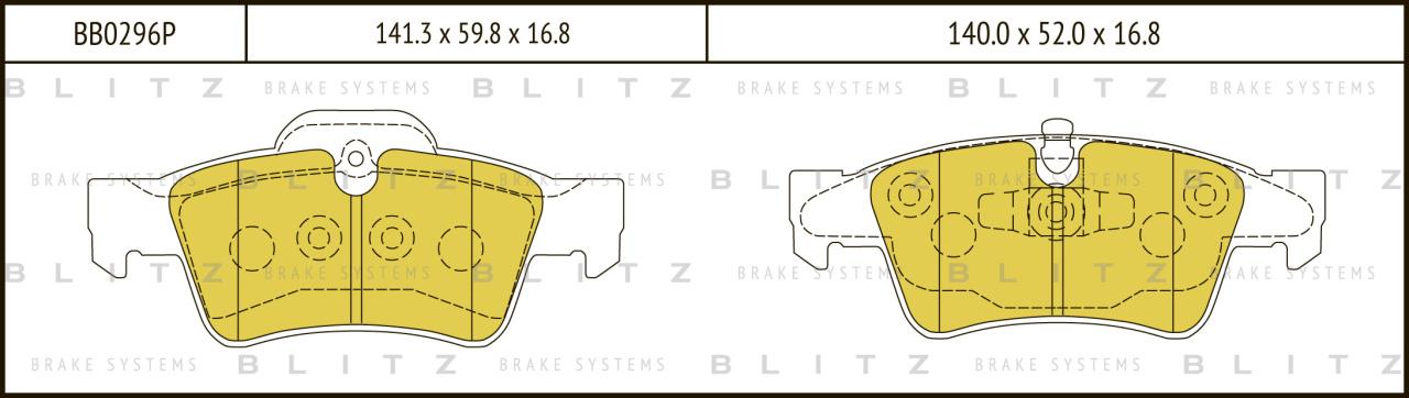 Колодки тормозные дисковые BLITZ автотовары BB0296PBB0296P