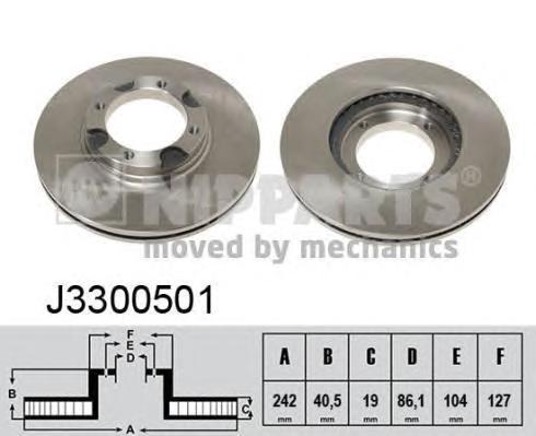 Диск тормозной передний вентилируемый Nipparts J3300501 комплект 2 штJ3300501