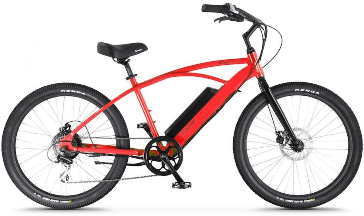 Электровелосипед Jucied Bikes Ocean Current 11 SE, цвет: красный. OC11SESROC11SESRЭлектровелосипед Jucied Bikes Ocean Current 11 SE отличается очень высоким качеством изготовления стандартной рамы и красочного покрытия. Это обеспечивает надежность и безопасность велогибрида. И на нем очень приятно ездить.С левой стороны расположена панель управления, на ней имеются следующие функции: уровень заряда аккумулятора, режимы скоростей и кнопка включения/выключения.Правая ручка дополнена удобным механическим тормозом. Дисковые механические тормоза обеспечивают плавное торможение, и уверенную остановку практически на любой поверхности.Педали с широкой платформой дополнены небольшими шипами, что позволяет удобно и надежно поставить ногу.Передняя амортизационная вилка, достойно отработает все неровности, спуски и ямы, которые попадут под переднее колесо.Электродвигатель в паре с емким аккумулятором 11,6Ah и 8,8Ah за считанные секунды разгоняют данный велогибрид до 50 км/ч.Характеристики:Новые более мощные велогибриды имеют 9 транзисторных контроллеров 48 вольт.Максимальная скорость: до 50 км/ч.Дальность хода: до 170 км.Редукторный двигатель: 500 Вт.Датчик хода и датчик дроссельной заслонки.1 7.4 AA Super Extended Range & 8,8 Ah Hyper Extended Range Packs совместимы со всеми OceanCurrents.Классический стиль крейсера прекрасно сочетается с балансной батареей на 48 В.Современные чувствительные педали усиливают прокрутку до 1000 раз в секунду. Сгладьте полосу или поднимите скорость до 50 километров в час.