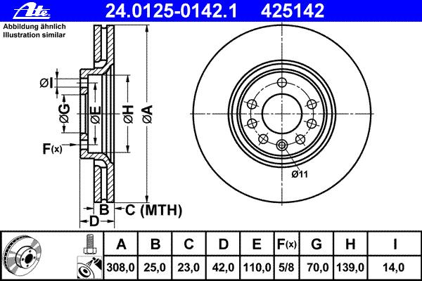 Диск тормозной Ate 24012501421 комплект 2 шт24012501421