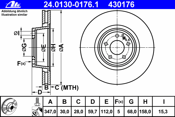 Диск тормозной Ate 24013001761 комплект 2 шт24013001761