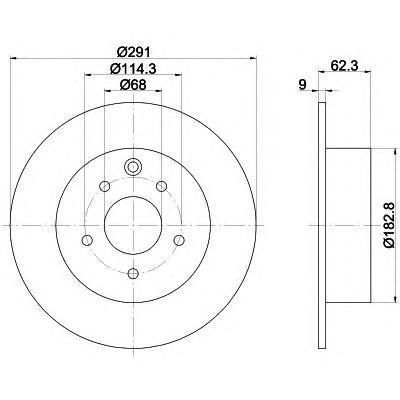 Диск тормозной Pro BEHR-HELLA 8DD355119101 комплект 2 шт8DD355119101