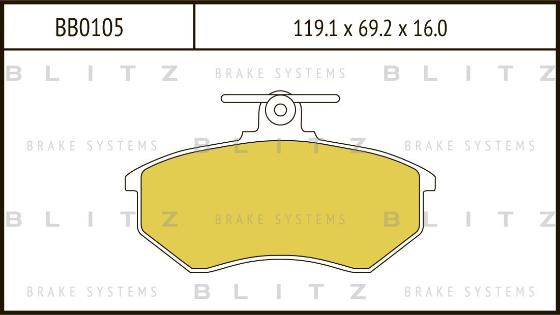 Колодки тормозные дисковые BLITZ автотовары BB0105BB0105