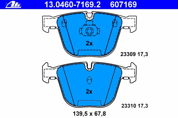 Колодки тормозные дисковые Ate 1304607169213046071692