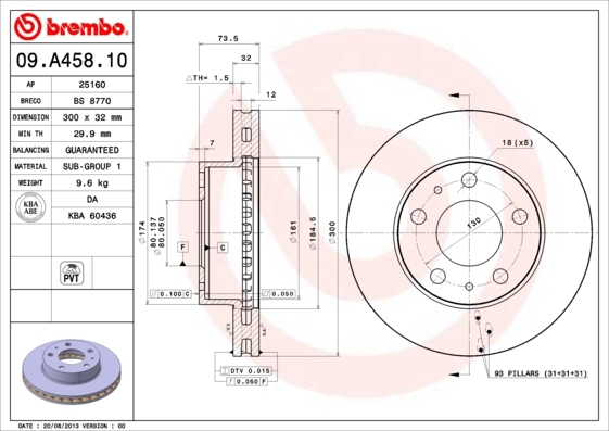 Диск тормозной Brembo 09A4581009A45810