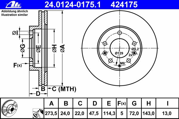 Диск тормозной Ate 24012401751 комплект 2 шт24012401751