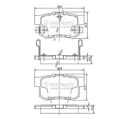 Колодки тормозные задние Nipparts J3614008J3614008