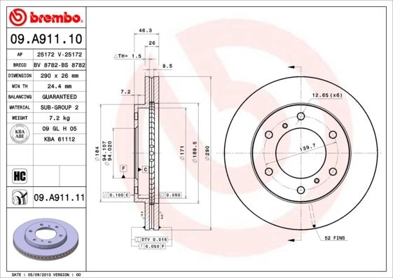 Диск тормозной передний вентилируемый Brembo 09A91110 комплект 2 шт09A91110