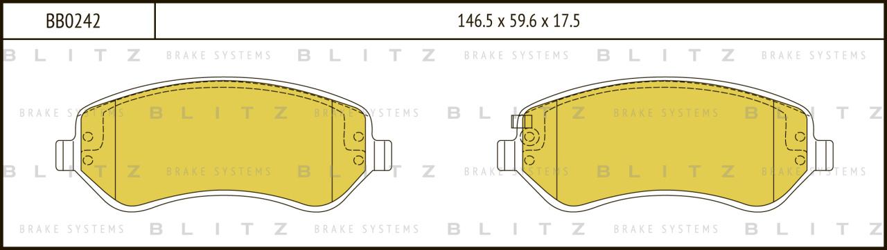 Колодки тормозные дисковые BLITZ автотовары BB0242BB0242