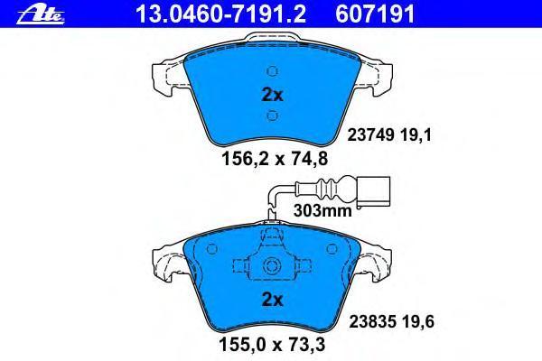 Колодки тормозные дисковые Ate 1304607191213046071912