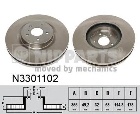 Диск тормозной передний вентилируемый Nipparts N3301102N3301102