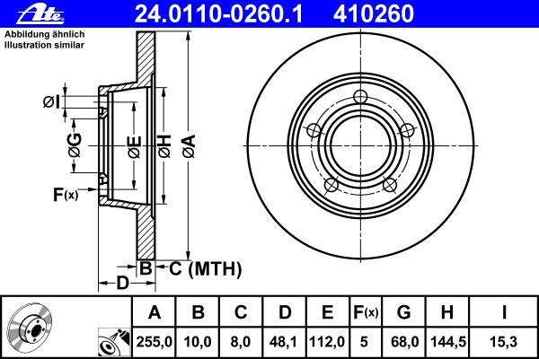 Диск тормозной Ate 24011002601 комплект 2 шт24011002601