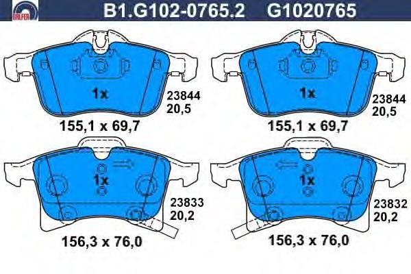 Колодки тормозные Galfer B1G10207652B1G10207652
