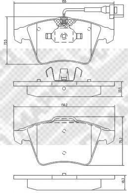 Колодки тормозные передние с датчиком Mapco 67726772