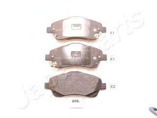 Колодки тормозные дисковые Japanparts PA206AFPA206AF