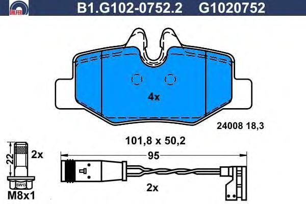 Колодки тормозные дисковые Galfer B1G10207522B1G10207522