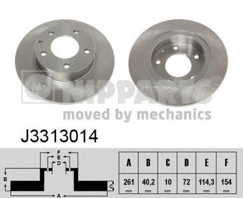 Диск тормозной задний Nipparts J3313014 комплект 2 штJ3313014