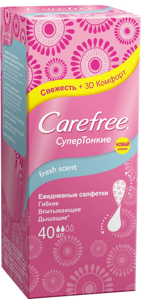 Carefree Салфетки Супертонкие Fresh, 40 шт