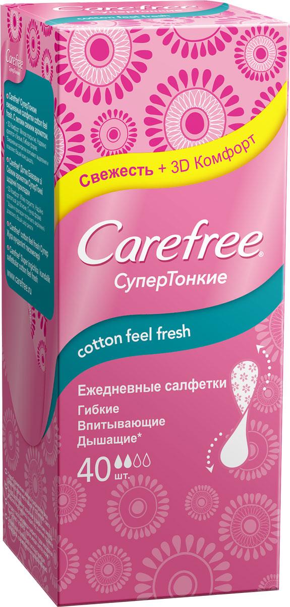 Carefree Салфетки Супертонкие Cotton Feel, 40 шт90225Ежедневные супертонкие салфетки.Гибкие впитывающие.Дышащие.