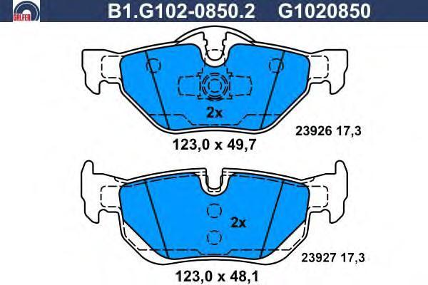 Колодки тормозные дисковые Galfer B1G10208502B1G10208502