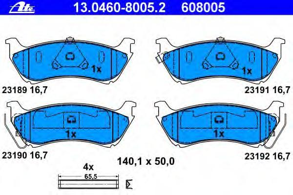 Колодки тормозные Ate 1304608005213046080052