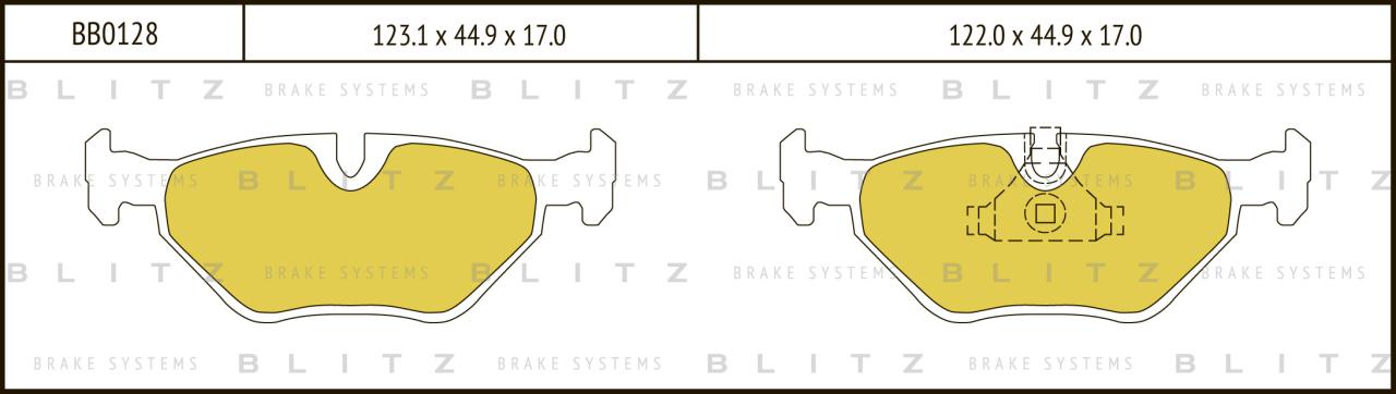 Колодки тормозные дисковые BLITZ автотовары BB0128BB0128