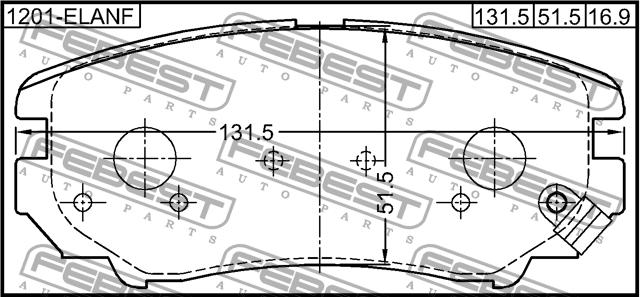 Колодки тормозные передние Febest 1201ELANF1201ELANF